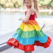 Lovely Trendy Rainbow Striped Multicolor Girl Knee