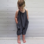 Lovely Trendy Pocket Patched Black Girl One-piece Jumpsuit
