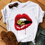 Lovely Leisure Lip Print Red T-shirt