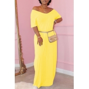Lovely Casual Basic Yellow Maxi Dress