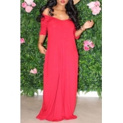 Lovely Casual Basic Red Maxi Dress