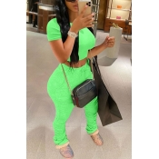 Lovely Casual Fold Design Green Two-piece Pants Set