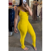 Lovely Trendy Fold Design Yellow One-piece Jumpsuit