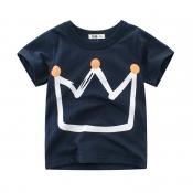 Lovely Casual O Neck Print Royalblue Boy T-shirt