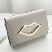 Lovely Stylish Lip Dark Grey Messenger Bag