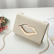 Lovely Stylish Lip Apricot Messenger Bag