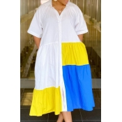 Lovely Casual Patchwork White Mid Calf Dress