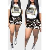 Lovely Trendy Camo Print Grey Plus Size Two-piece Shorts Set