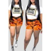 Lovely Trendy Camo Print Orange Plus Size Two-piece Shorts Set