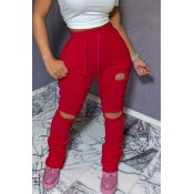 Lovely Leisure Hollow-out Red Pants