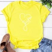 Lovely Leisure Heart Yellow T-shirt
