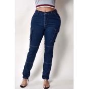 Lovely Stylish Pocket Patched Blue Jeans