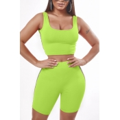 Lovely Sportswear Patchwork Green Two-piece Shorts Set