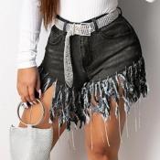 Lovely Trendy Tassel Design Black Shorts