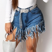 Lovely Trendy Tassel Design Deep Black Shorts