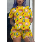 Lovely Casual Cartoon Print Yellow Two-piece Short