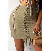Lovely Stylish Bandage Design Army Green Skirt