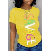Lovely Casual Letter Print Yellow T-shirt