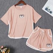 Lovely Casual Print Pink Sleepwear