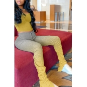 Lovely Casual Gradual Change Yellow Two-piece Pants Set