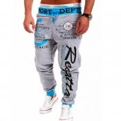 Men Lovely Sportswear Letter Light Grey Pants