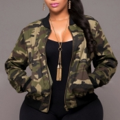 Lovely Stylish Camo Print Plus Size Jacket