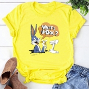 Lovely Leisure O Neck Cartoon Print Yellow T-shirt