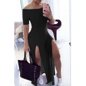 Lovely Stylish Side High Slit Black Maxi Dress
