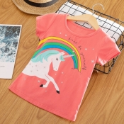 Lovely Leisure O Neck Cartoon Print Red Girl T-shi