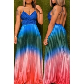 Lovely Sexy Backless Multicolor Maxi Dress