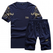 Lovely Sportswear Print Deep Blue Two-piece Shorts Set