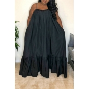 Lovely Casual Loose Black Maxi Dress