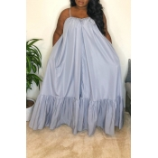 Lovely Casual Loose Grey Maxi Dress