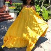 Lovely Casual Loose Yellow Maxi Dress