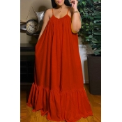 Lovely Casual Loose Red Maxi Dress