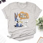Lovely Leisure O Neck Cartoon Print Grey T-shirt