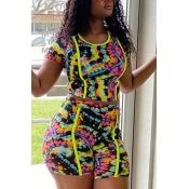 Lovely Trendy Print Multicolor Two-piece Shorts Set