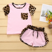 Lovely Stylish Patchwork Pink Girl Two-piece Shorts Set