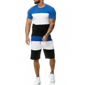 Men Lovely Casual Patchwork Blue Two-piece Shorts Set