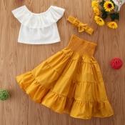 Lovely Sweet Flounce Design White Girl Two-piece Skirt Set