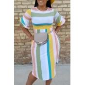 Lovely Sweet Striped Multicolor Knee Length Dress