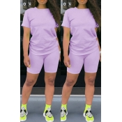 Lovely Casual Basic Purple Two-piece Shorts Set