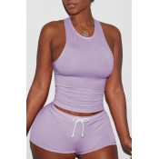 Lovely Sportswear Lace-up Purlpe Two-piece Shorts Set