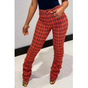 Lovely Trendy Grid Red Pants