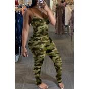 Lovely Trendy Camo Print Army GreenOne-piece Jump