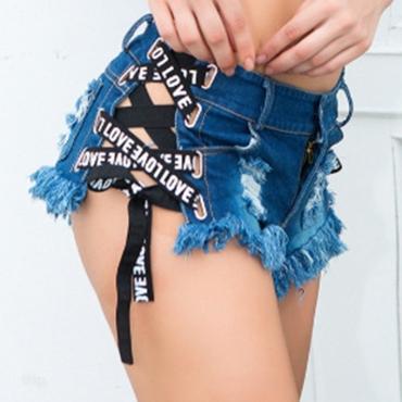 Lovely Trendy Bandage Design Blue Shorts
