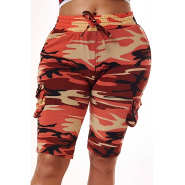 Lovely Trendy Camo Print Red Shorts