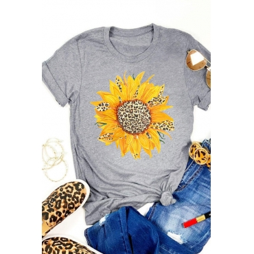 Lovely Casual O Neck Print Grey T-shirt