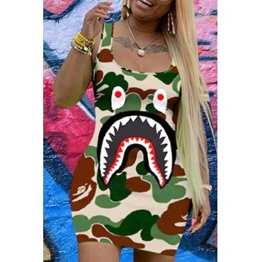 Lovely Casual U Neck Camo Print Army Green Mini Dress