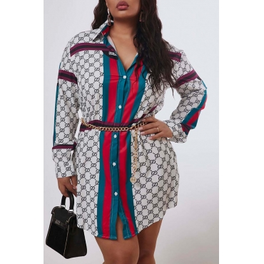Lovely Casual Patchwork White Mini Plus Size Dress
